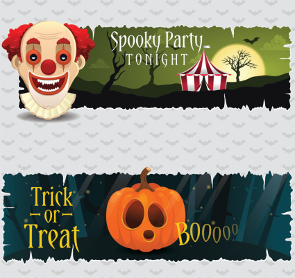 2 creative Halloween party banner vector