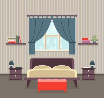 Creative striped wallpaper bedroom design vector material