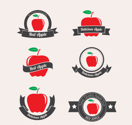 6 red apple label vector material