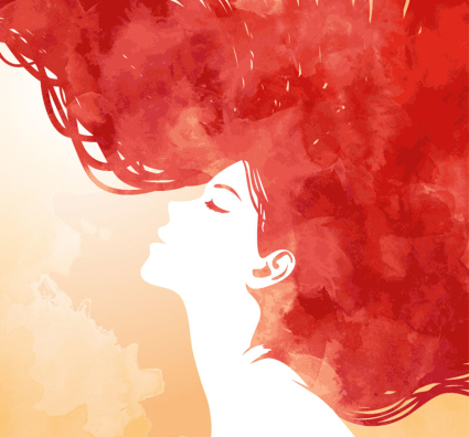 Watercolor red hair woman side face vector material