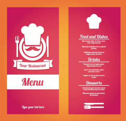 Creative red restaurant menu