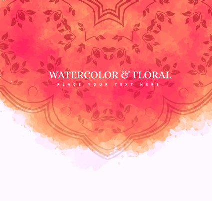 Rose red water painting pattern card