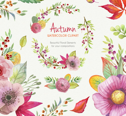 A variety of watercolor autumn floral vector material