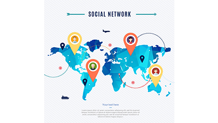 Social network world map vector material