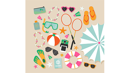 Variety of summer vacation beach element vector material