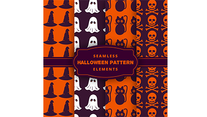 4 Halloween pattern seamless background vector