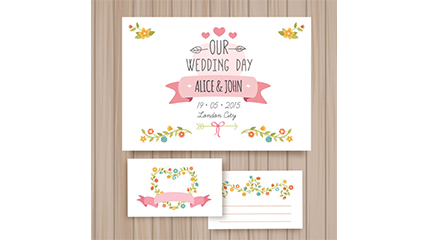 3 Cartoon flower card vector wedding