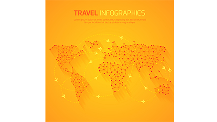 Orange world travel map vector material