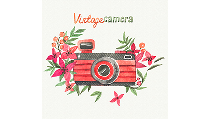Watercolor flowers and cameras vector material