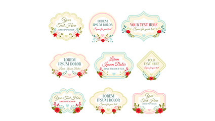 9 floral decorative label vector material