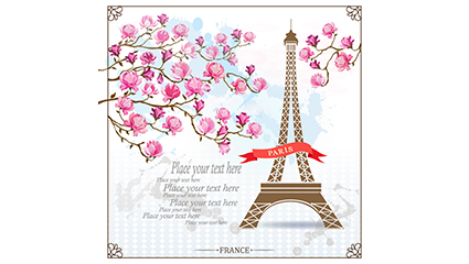 Magnolia and Paris Tower vector material