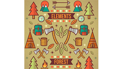Creative forest camping element vector illustration material