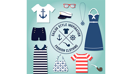 10 paragraph summer navy style clothing and accessories vector