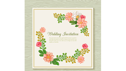 Watercolor Floral Wedding Invitation Card Vector
