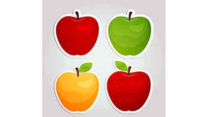 4 Creative Apple sticker vector material