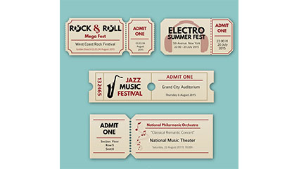 4 concert tickets creative vector material