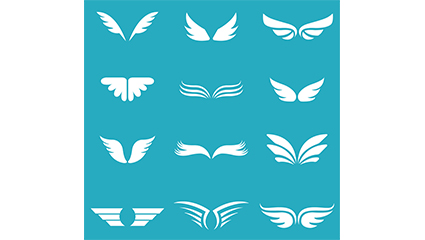 12 white wings design vector material