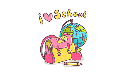 I LOVE SCHOOL cartoon school supplies vector