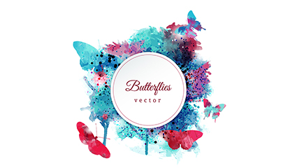 Blue red watercolor butterfly tag vector material