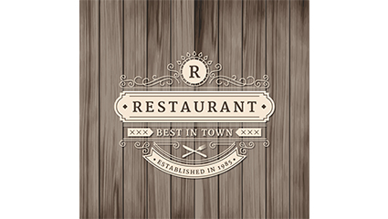 Retro restaurant logo design vector material