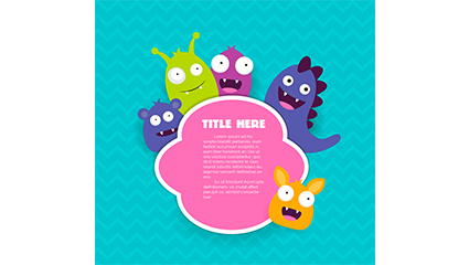 5 lovely monster tags vector material
