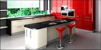 Fashion tone red kitchen picture material