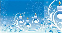 Snowflake candle pattern vector material