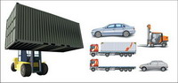 Cars, container trucks, lifting trucks, large cars, forklift vector