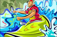 Hand-painted figures illustrations (canoeing Movement)