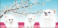 White cat vector material