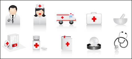 Ambulance, medicine containers, syringes, bottles, wound paste, stethoscope