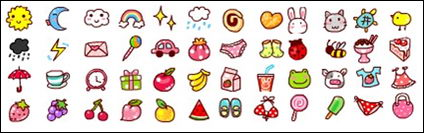 Weather, fruits, animals, small icons gif